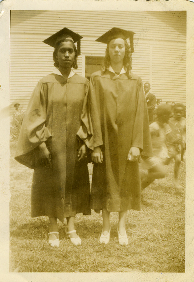 1941 Louisa Train. school Eva Founatin left Margaret Hughes right.jpg