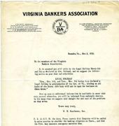 Virginia Bankers Association Letter